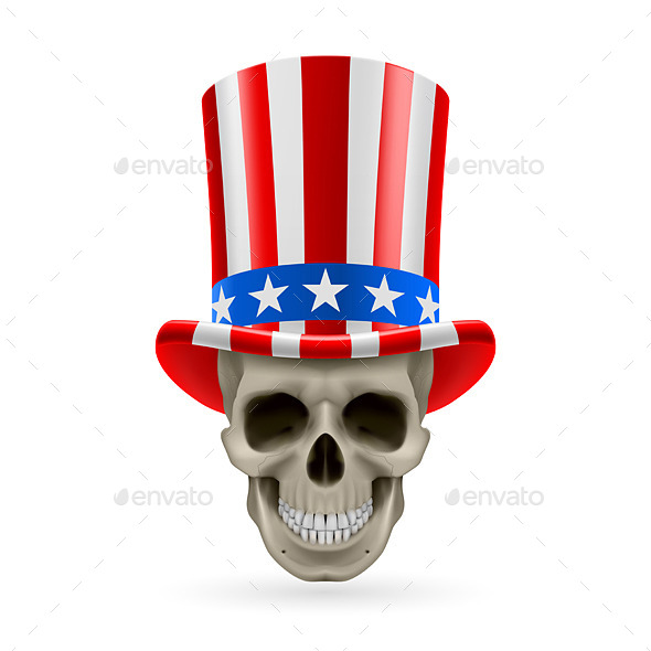 GraphicRiver Human Skull with Uncle Sam Hat 8852290