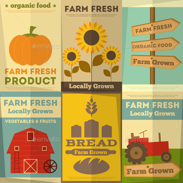 GraphicRiver Set of Posters for Organic Farm Food 8852497