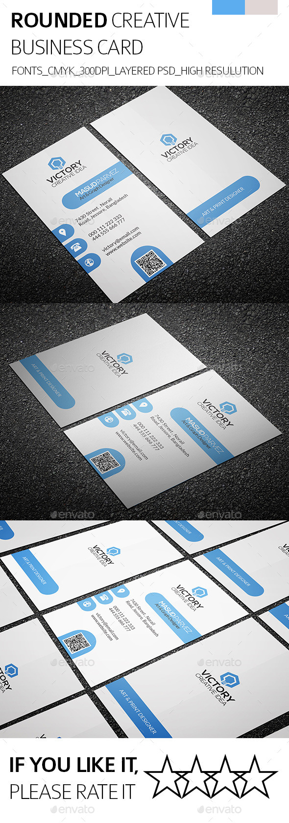 GraphicRiver Rounded & Creative Business Card 8852498