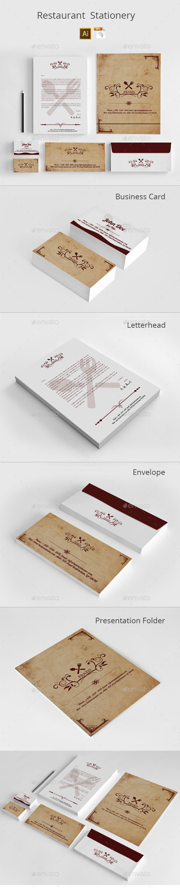 GraphicRiver Restaurant Stationery 8852510