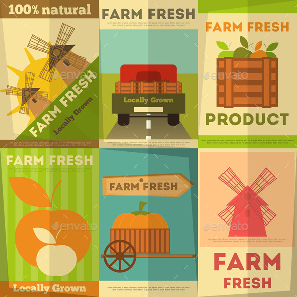 GraphicRiver Set of Posters Farm Fresh 8852536