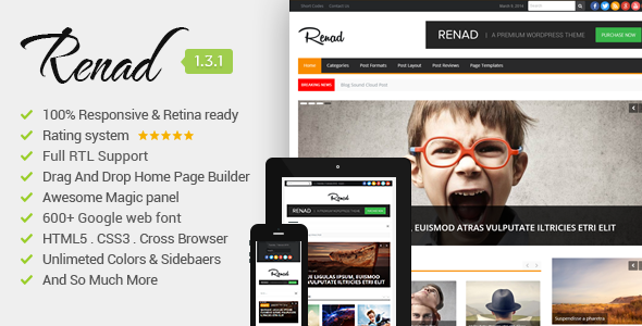 Renad Clean & Modern WordPress Magazine Theme