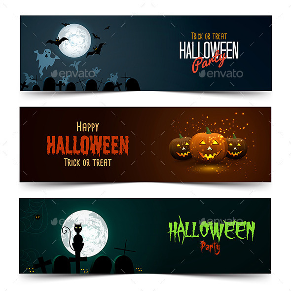 GraphicRiver Happy Halloween Banner Set 8852882