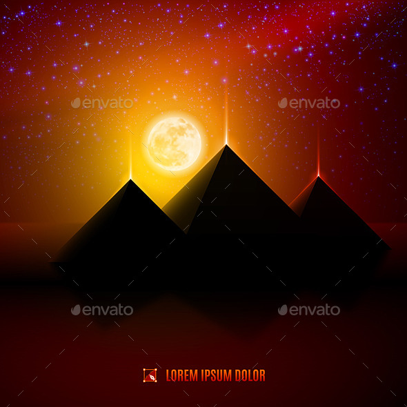 GraphicRiver Red and Orange Night Desert Landscape 8853444