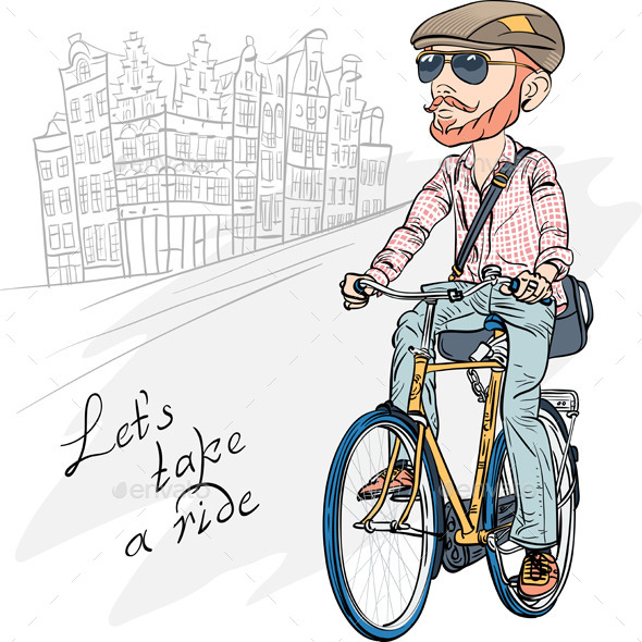 GraphicRiver Hipster Bearded Guy on a Bike 8853455