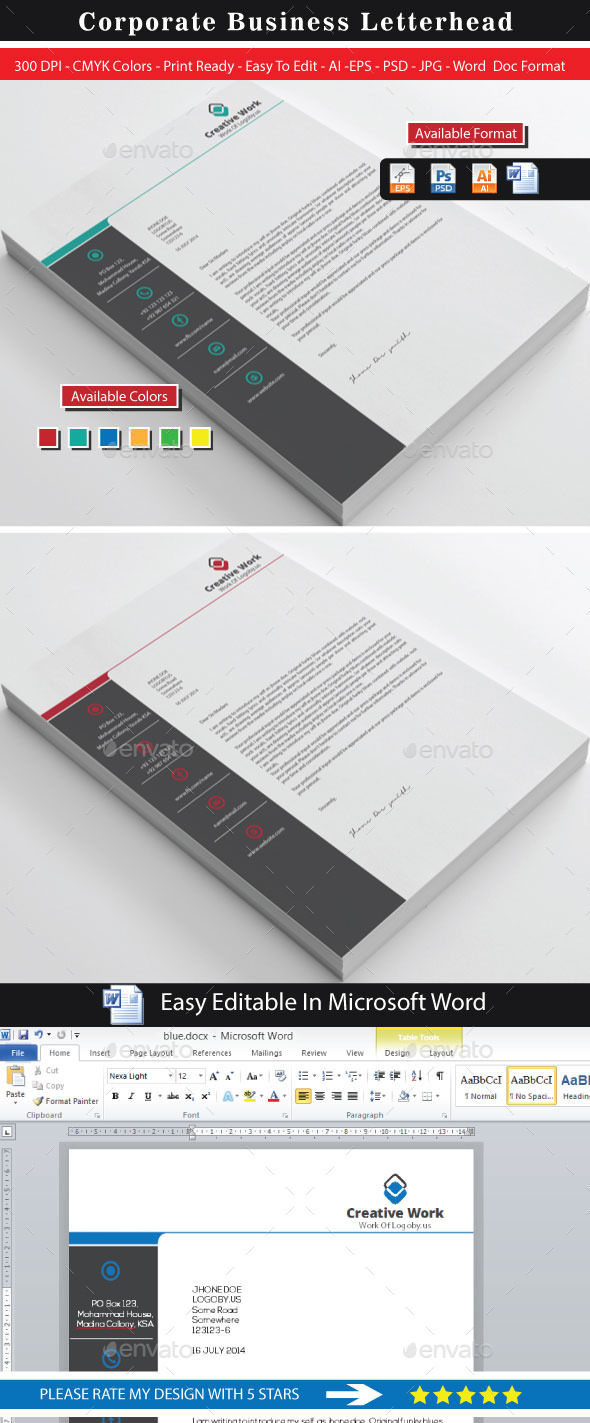 GraphicRiver Creative Work Letterhead Design 8853661
