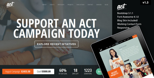 Act - Multipurpose Nonprofit Bootstrap Template - Charity Nonprofit