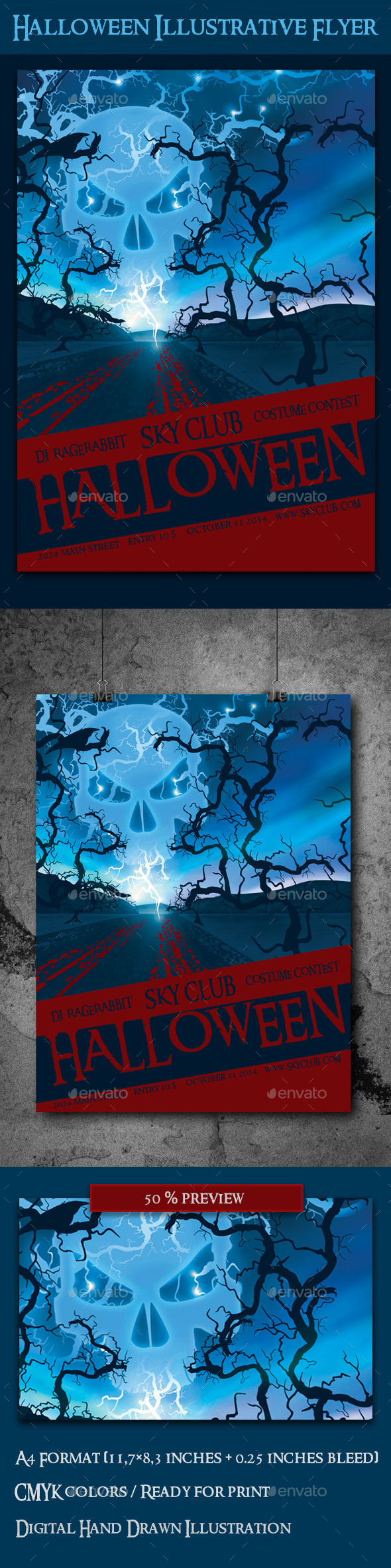 GraphicRiver Halloween Illustrative Flyer Template 8853677