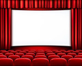 Rows of red cinema or theater seats in front of white blank screen. - PhotoDune Item for Sale