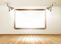 Showroom with wooden floor, white board and two lights.  - PhotoDune Item for Sale