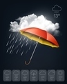 Weather forecast template. An umbrella on rainy background - PhotoDune Item for Sale