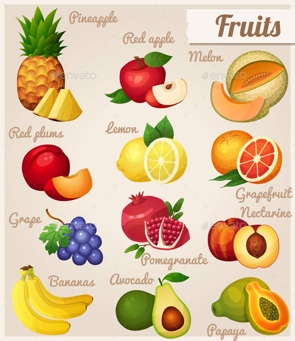 GraphicRiver Set of Food Icons Fruits 8835723