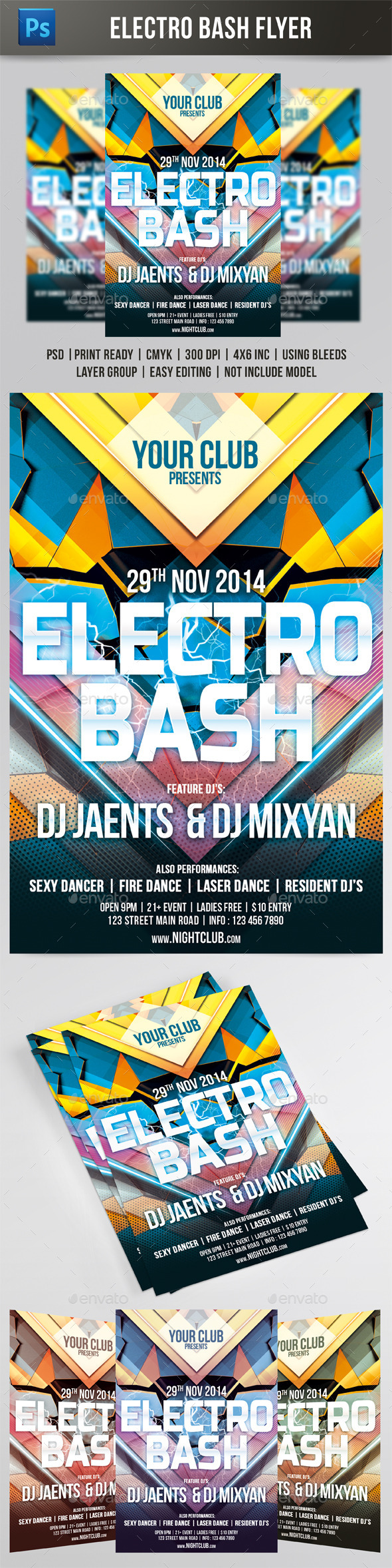 GraphicRiver Electro Bash Flyer 8854144
