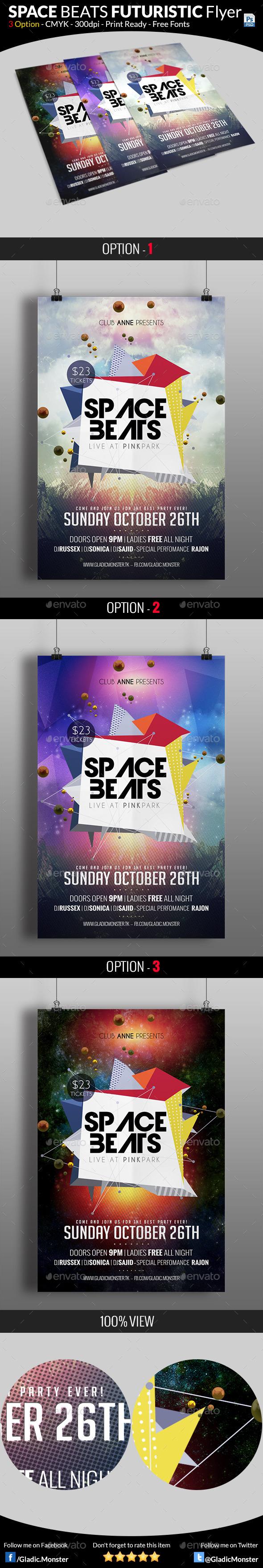 GraphicRiver Space Beats Futuristic Flyer 8854162