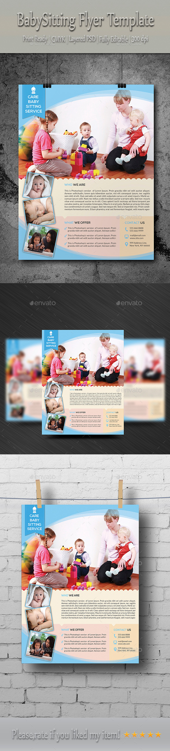 GraphicRiver Babysitting & Daycare Flyer Template 8854508