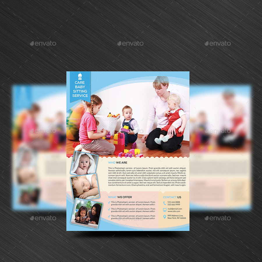 babysitting daycare flyer template by elitely graphicriver babysitting daycare flyer template