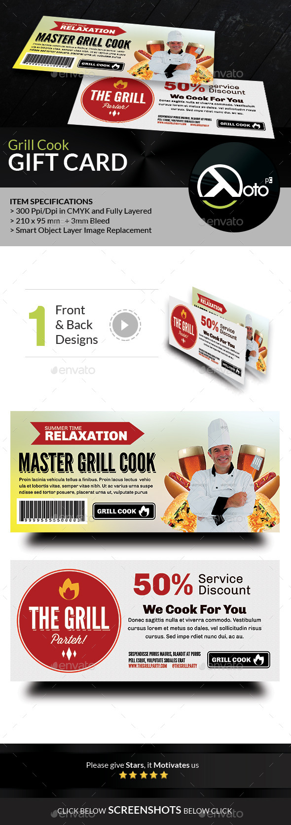 GraphicRiver Grill Cook Outdoor Kebab Party Gift Vouchers 8847682