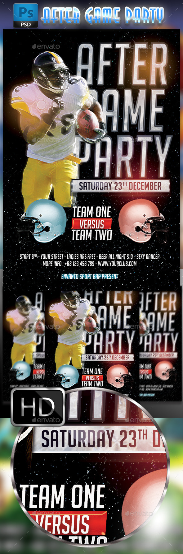GraphicRiver After Game Party Flyer Template America football 8844122