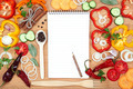 Vegetables, spices and notepad for recipes, on wooden table. - PhotoDune Item for Sale