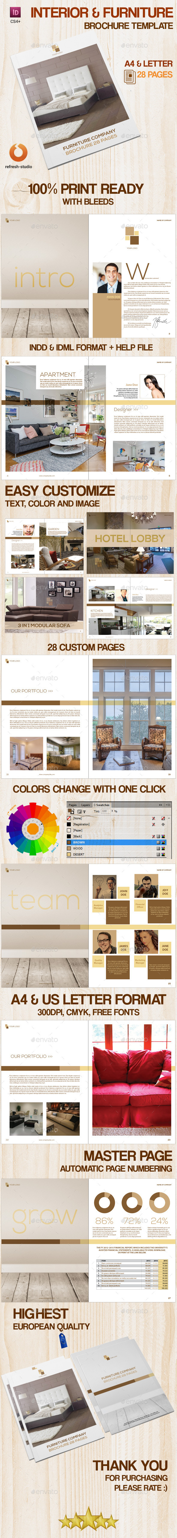 GraphicRiver Interior & Furniture Brochure A4 US 28 Pages 8856002