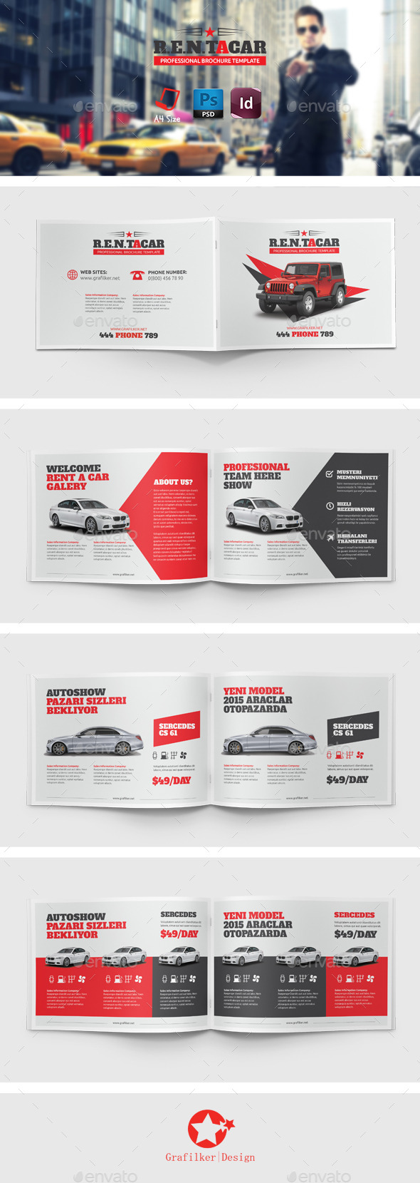 GraphicRiver Rent A Car Brochure Templates 8857291