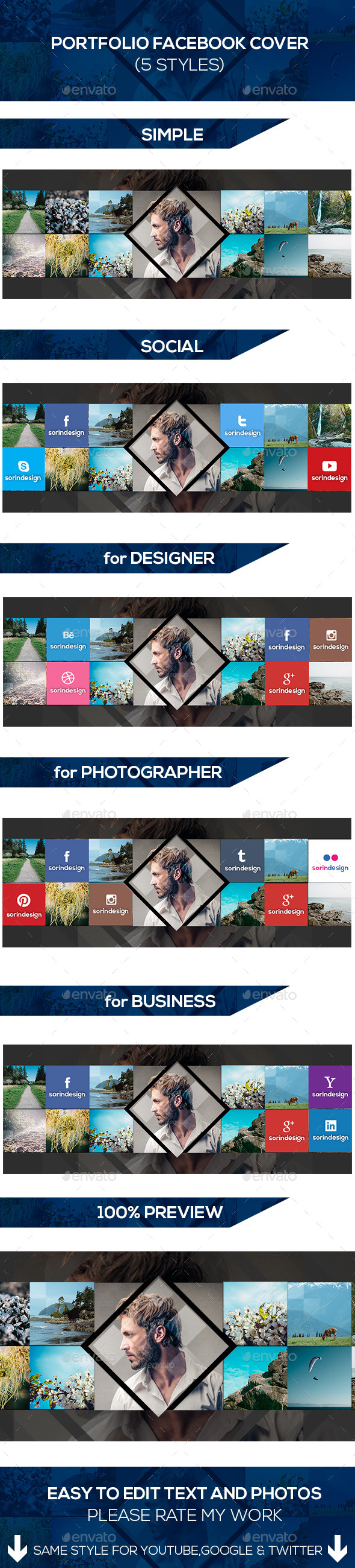 GraphicRiver Portfolio Facebook Covers Pack 8792899