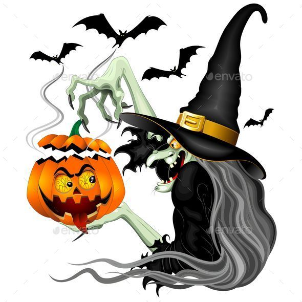 GraphicRiver Witch with Jack O Lantern and Bats 8857499