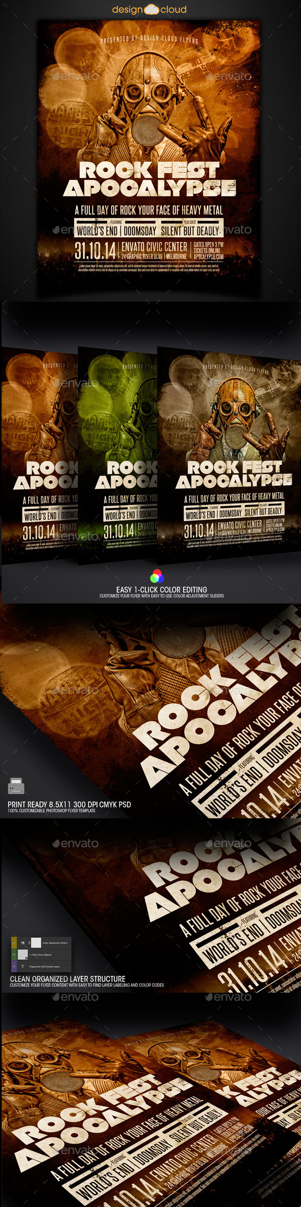 GraphicRiver Rock Fest Apocalypse Poster Flyer Template 8857635