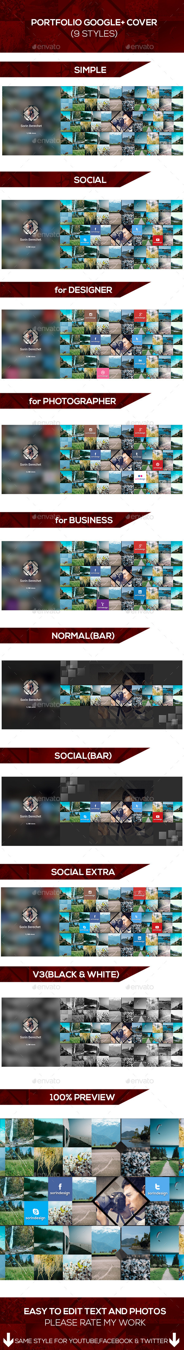 GraphicRiver Portfolio Google Plus Covers Pack 8792925