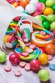 multicolored sweets and chewing gum in paper bags - PhotoDune Item for Sale