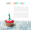 Cupcake with number one on white background. - PhotoDune Item for Sale