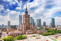 Warsaw, Poland. Palace of Culture and Science and skyscrapers, downtown. - PhotoDune Item for Sale