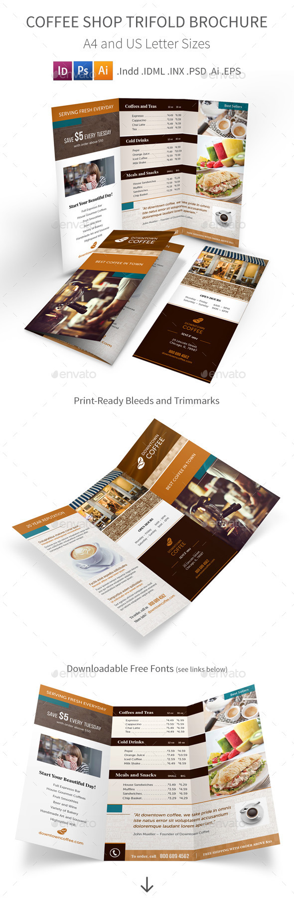 GraphicRiver Coffee Shop Trifold Brochure 8850010