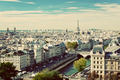 Paris panorama, France. Eiffel Tower, Seine river. Vintage - PhotoDune Item for Sale