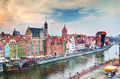 Top view on Gdansk old town and Motlawa river, Poland at sunset. - PhotoDune Item for Sale