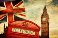 Symbols of London, England, the UK. Red phone booth, Big Ben, the Union Jack flag - PhotoDune Item for Sale