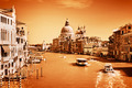 Venice, Italy. Grand Canal and the Salute basilica Vintage, monochrome gold - PhotoDune Item for Sale