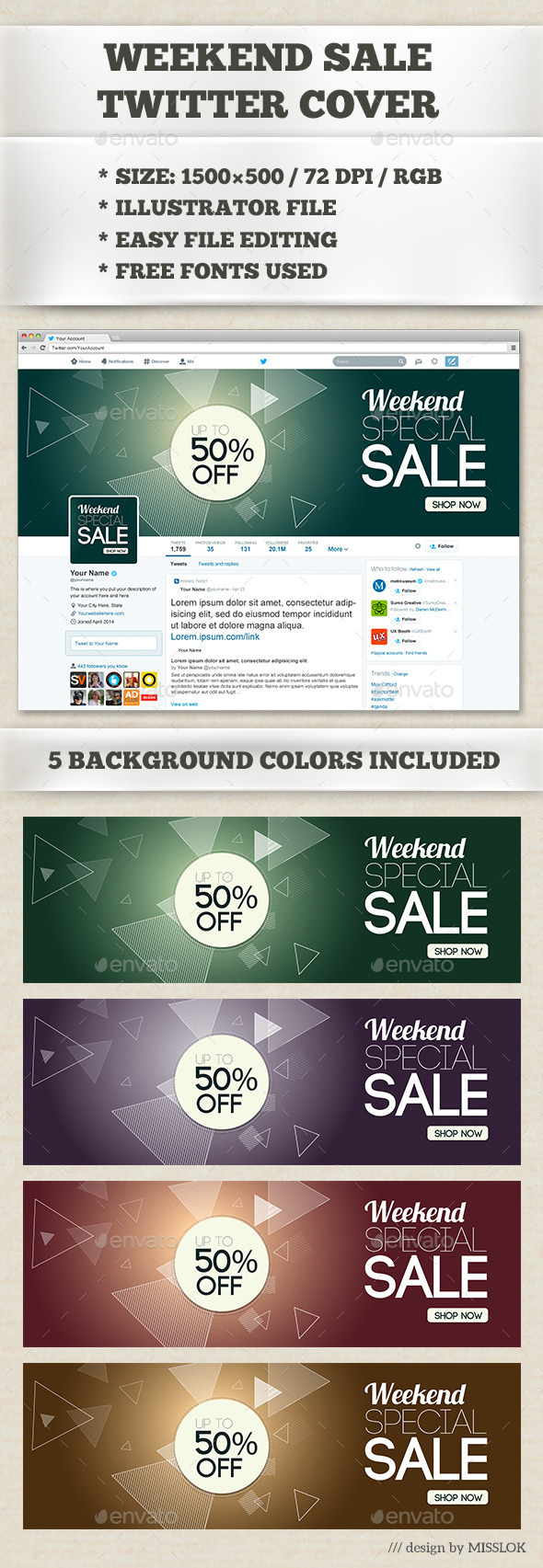 GraphicRiver Weekend Sale Twitter Cover 8858426