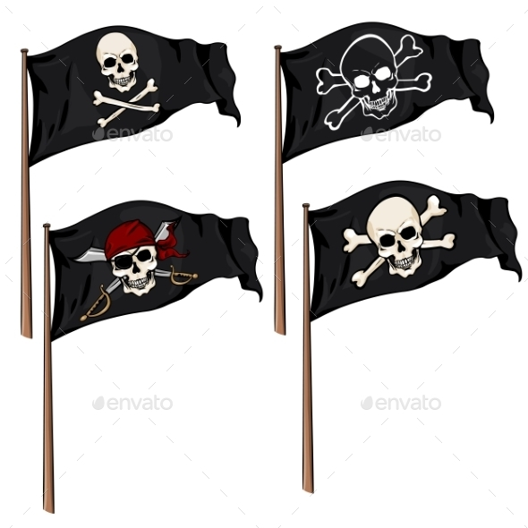 GraphicRiver Vector Set of Cartoon Pirate Flags 8859473
