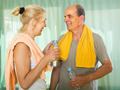 Pensioners with water after fitness - PhotoDune Item for Sale
