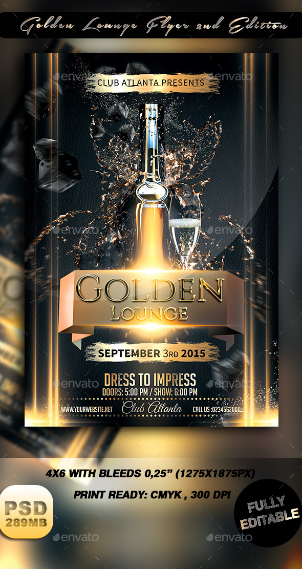 GraphicRiver Golden Lounge Flyer 2nd Edition 8860134