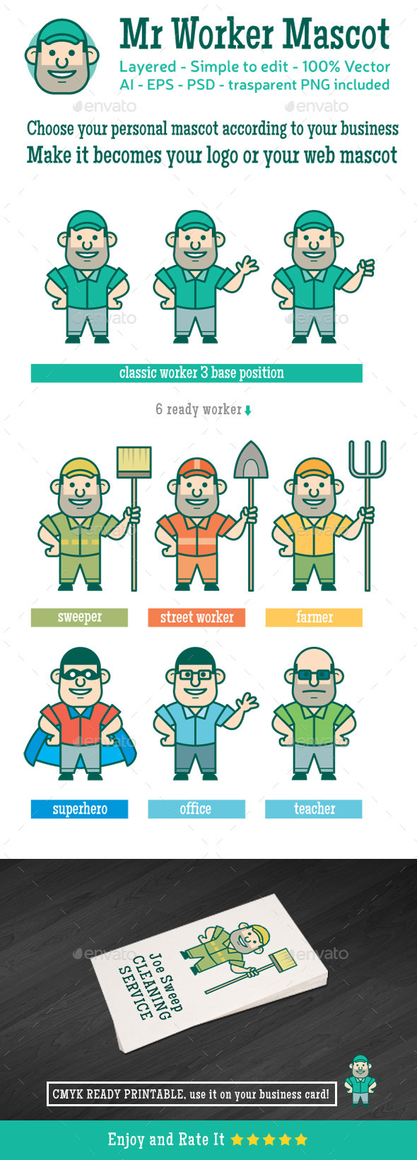 GraphicRiver Mr Worker Mascot 8860591