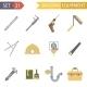 Retro Flat Building Equipment Icons - GraphicRiver Item for Sale