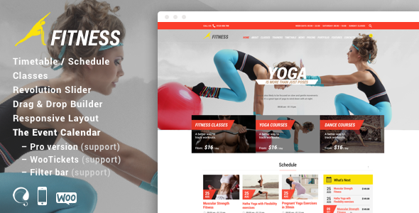 ThemeForest Fitness Sport Gym Responsive Theme 8860972