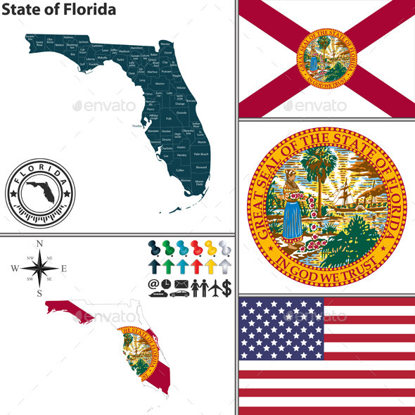Map of state Florida USA
