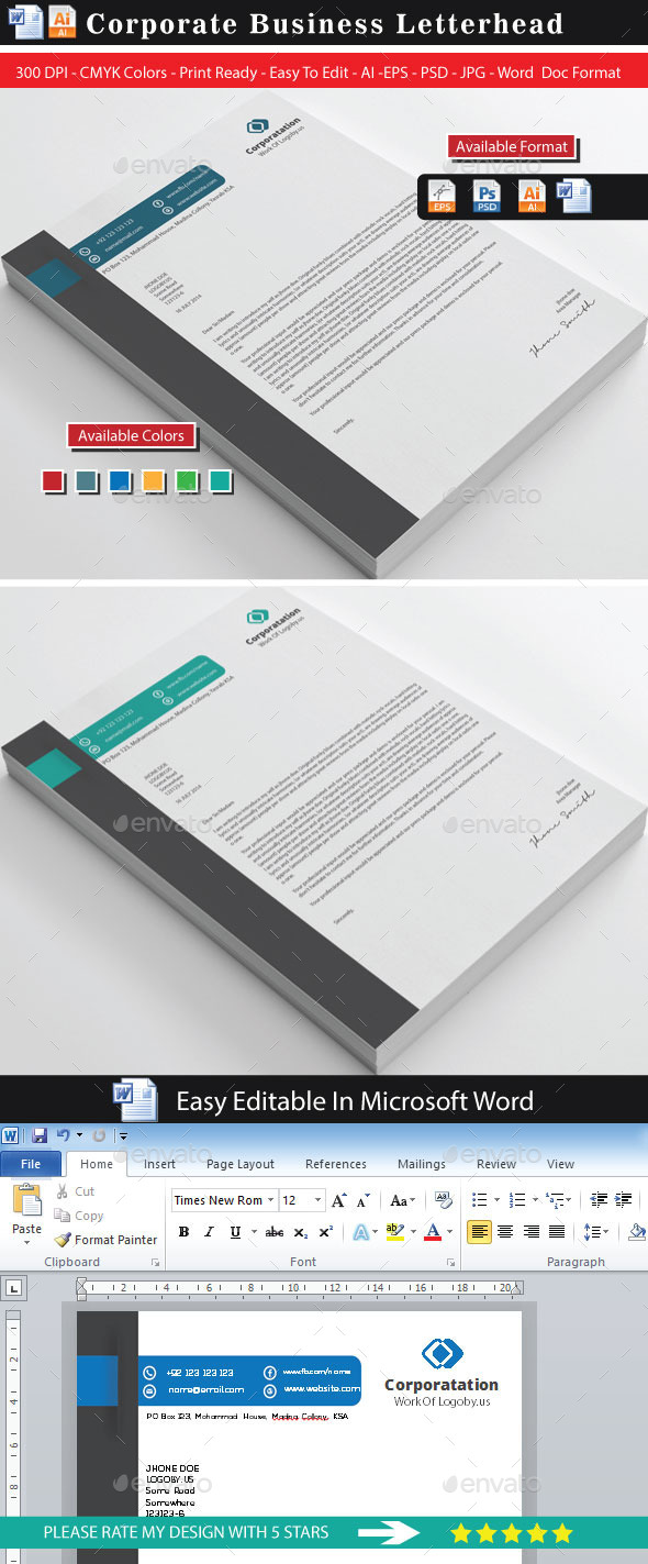 GraphicRiver Corporate Modern Letterhead 8861189