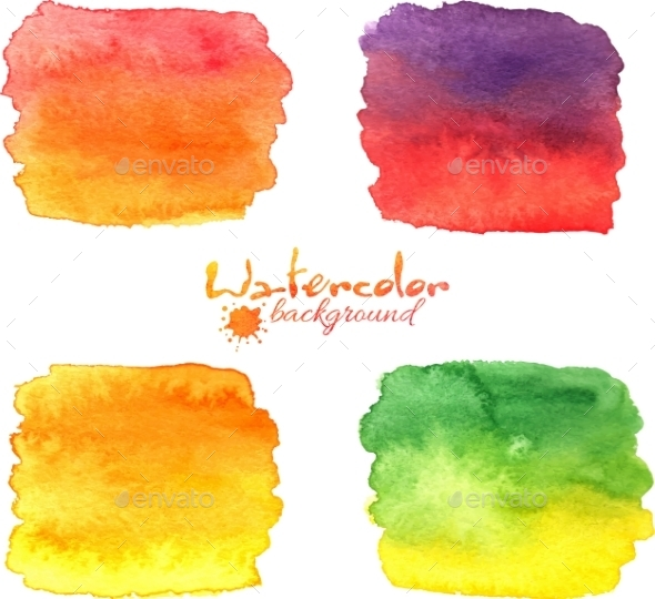 GraphicRiver Watercolor Painted Banners Vector Set 8861442