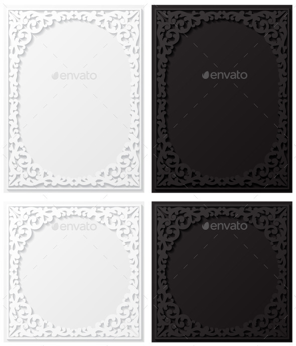 GraphicRiver Set of Paper Floral Frames 8861713