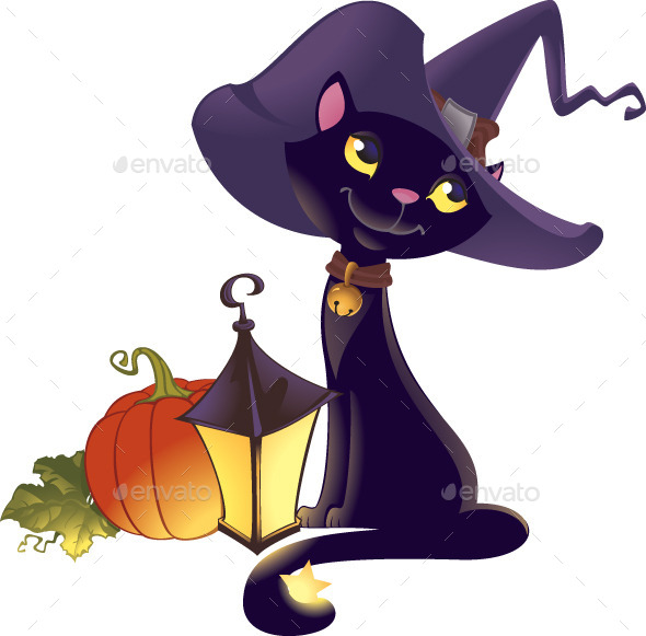 Halloween Kitten with Pumpkin and Lantern