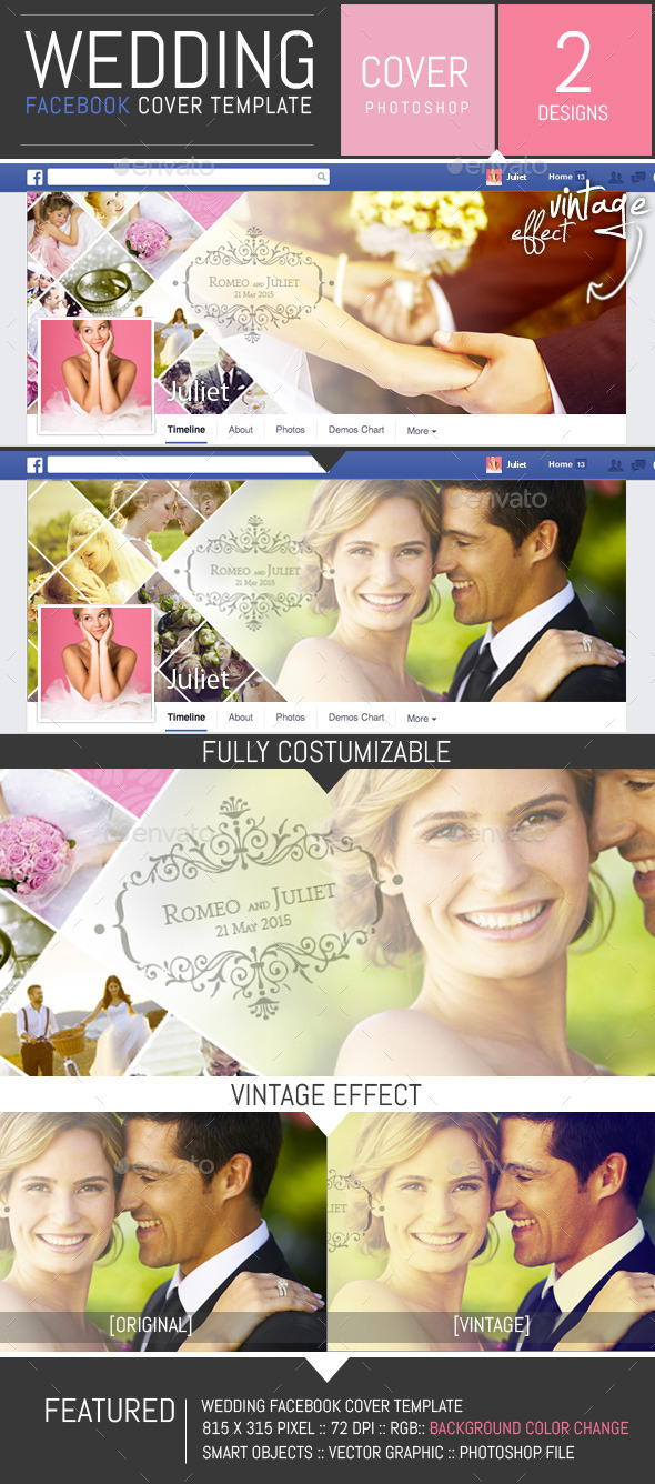 GraphicRiver Wedding Photo Album Facebook Cover Template 8851344